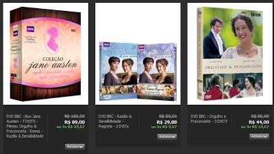 a2d08309459 Os DVDs da Editora Logon estão em promoção no Site Privalia. Todas as  séries de Austen publicadas pela edtitora