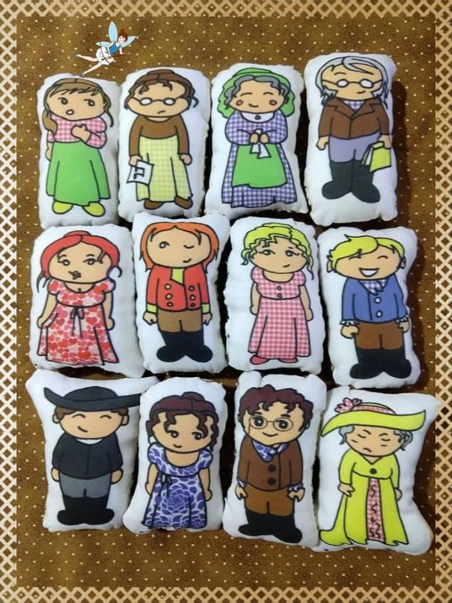Sachês de lavanda com os personagens de Austen.